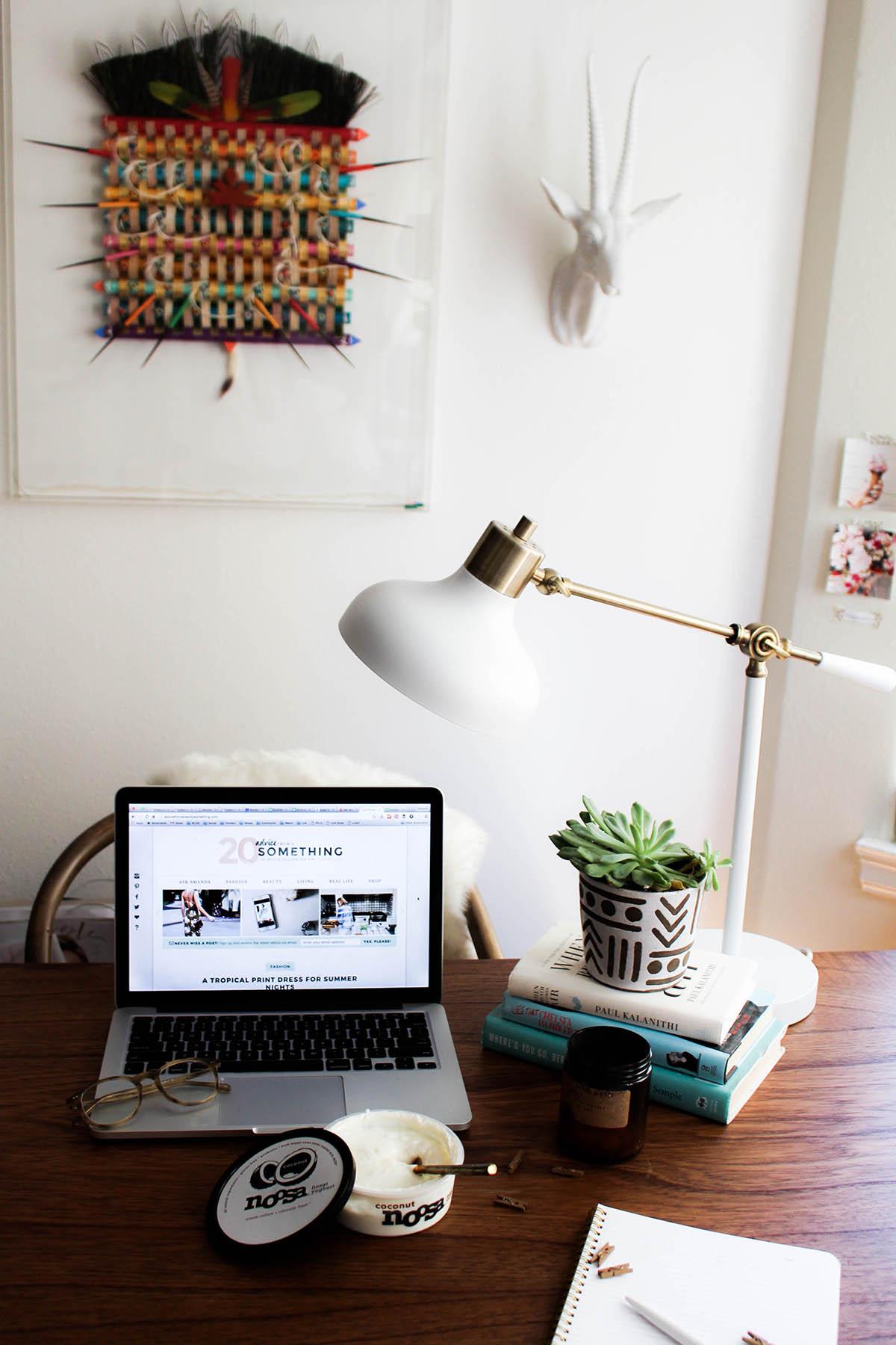 bohemian office decor & healthy workday habits