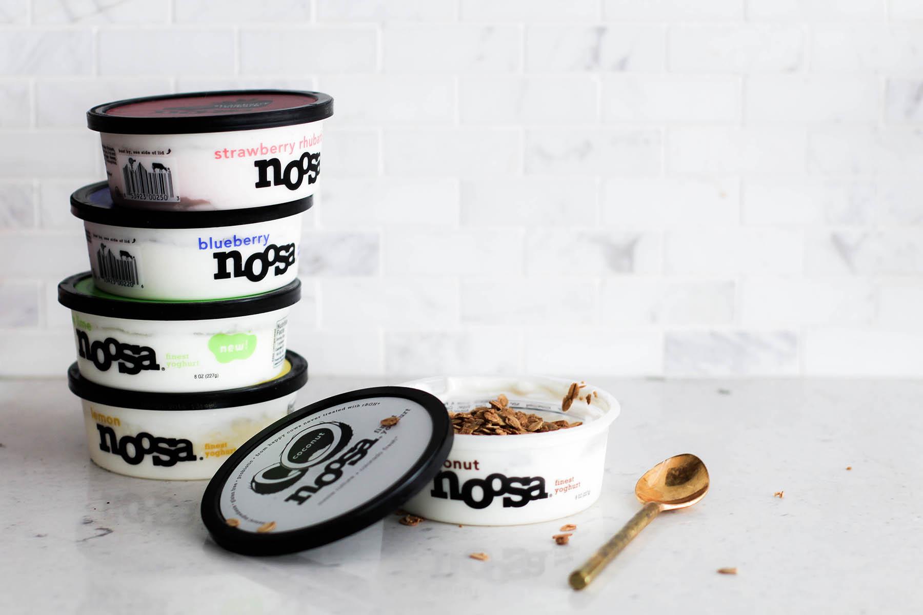 noosa yoghurt on white marble kitchen counter