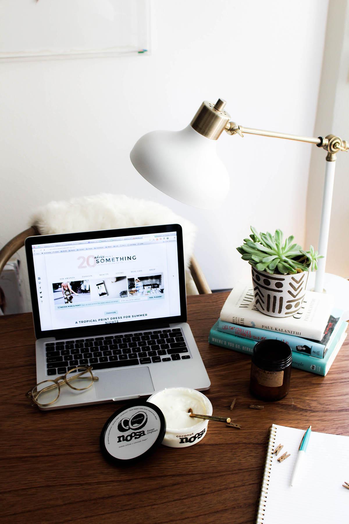 bohemian desk decor, white target lamp, urban outfitters planter