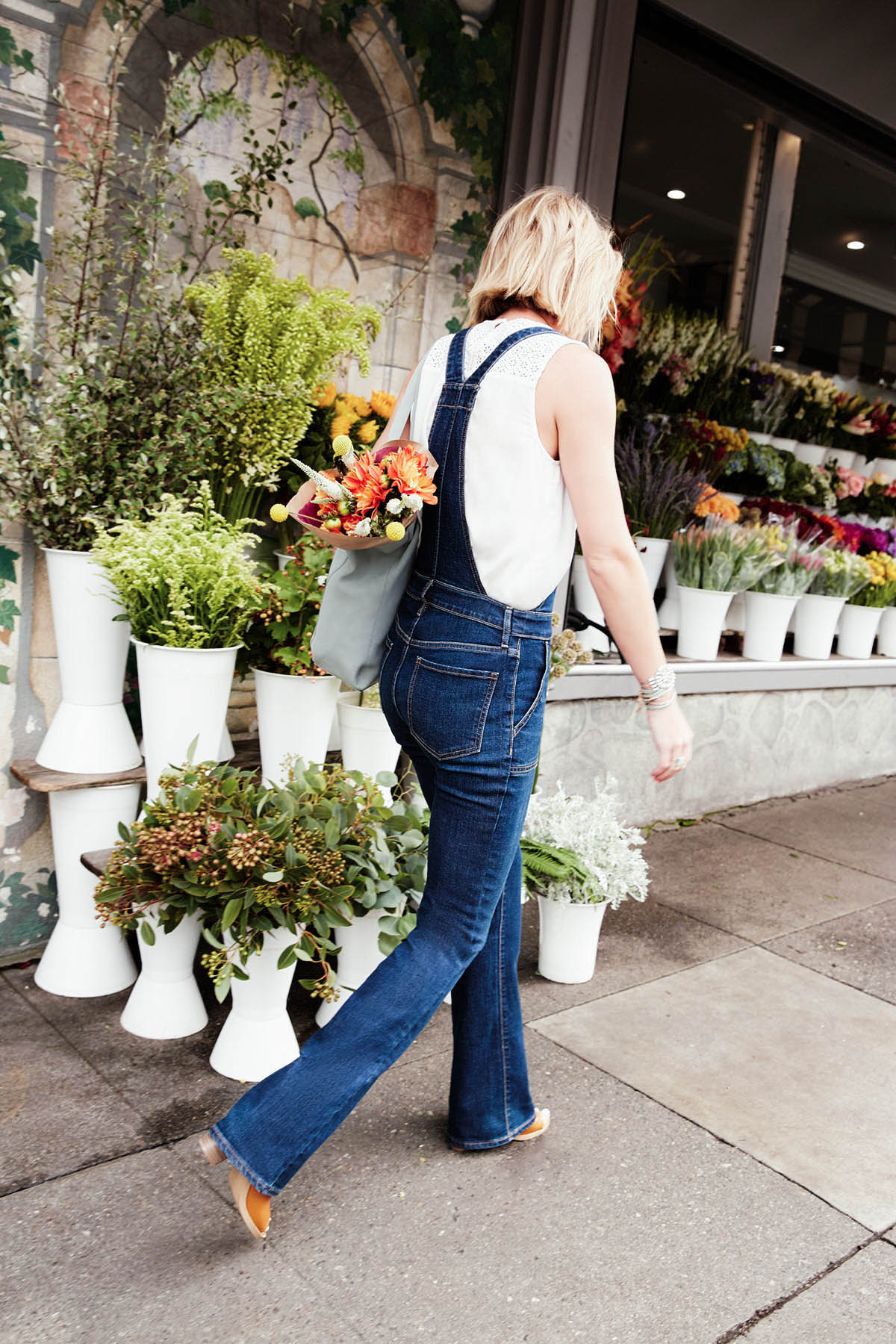 Old Navy flare denim overalls outfit