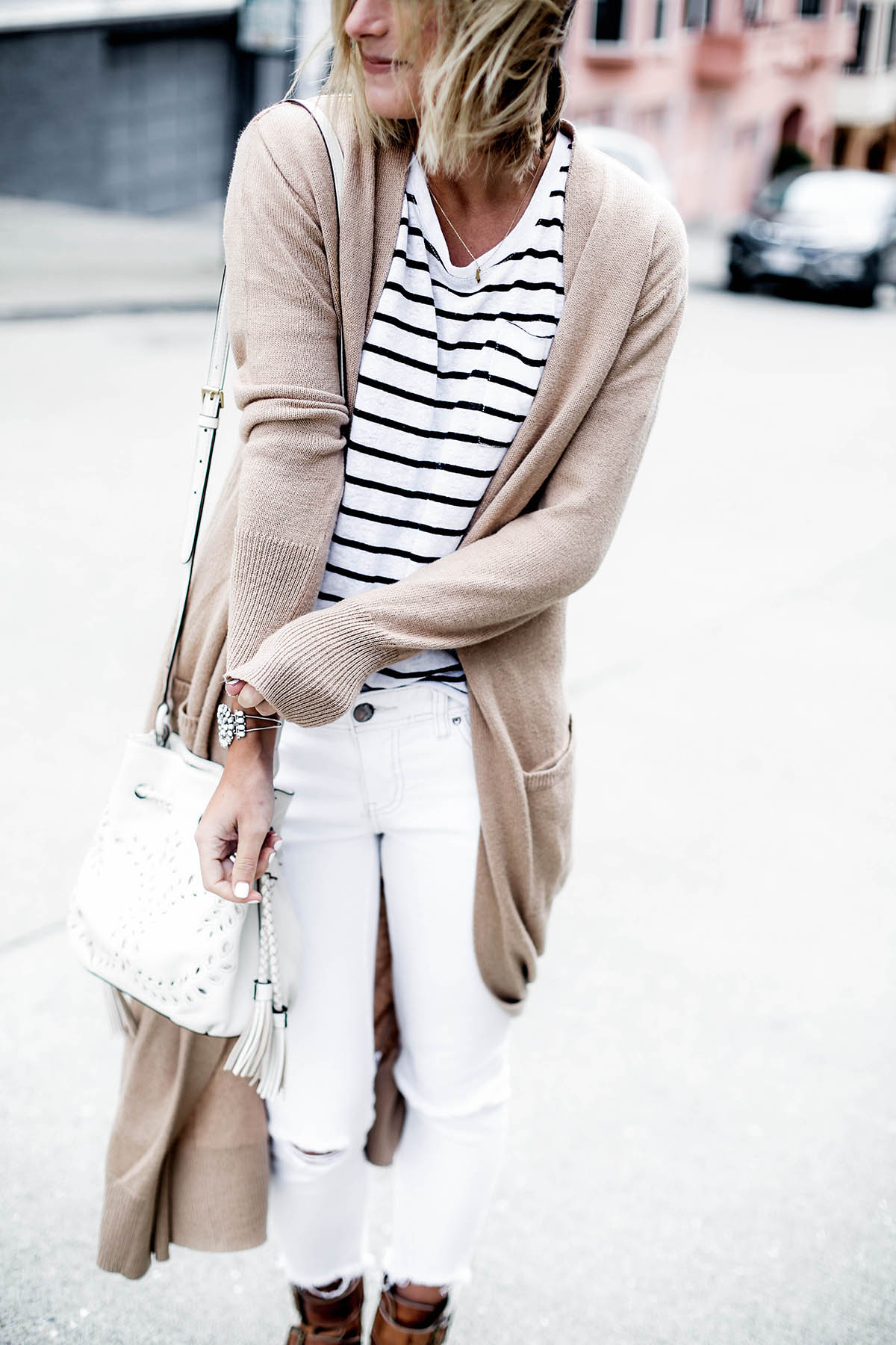 visiting San Francisco outfit in Old Navy extra long cardigan and striped tee shirt