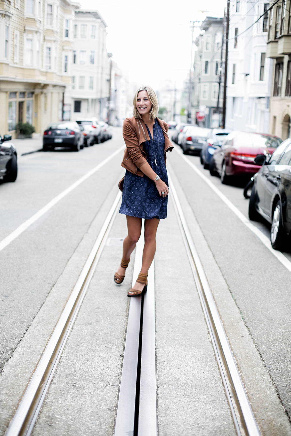 visiting San Francisco outfit in Old Navy dress and suede moto jacket