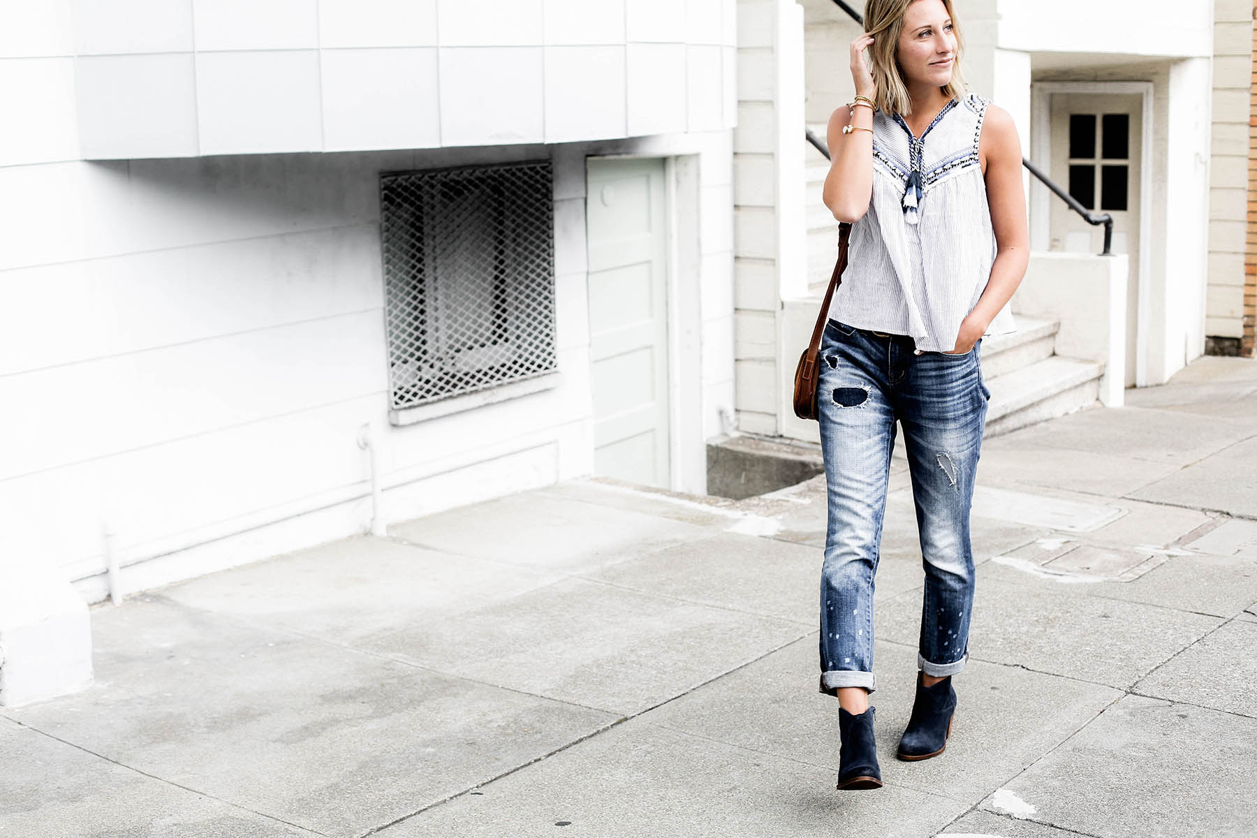 fall fashion trends patchwork denim boyfriend jeans and blue suede ankle boots