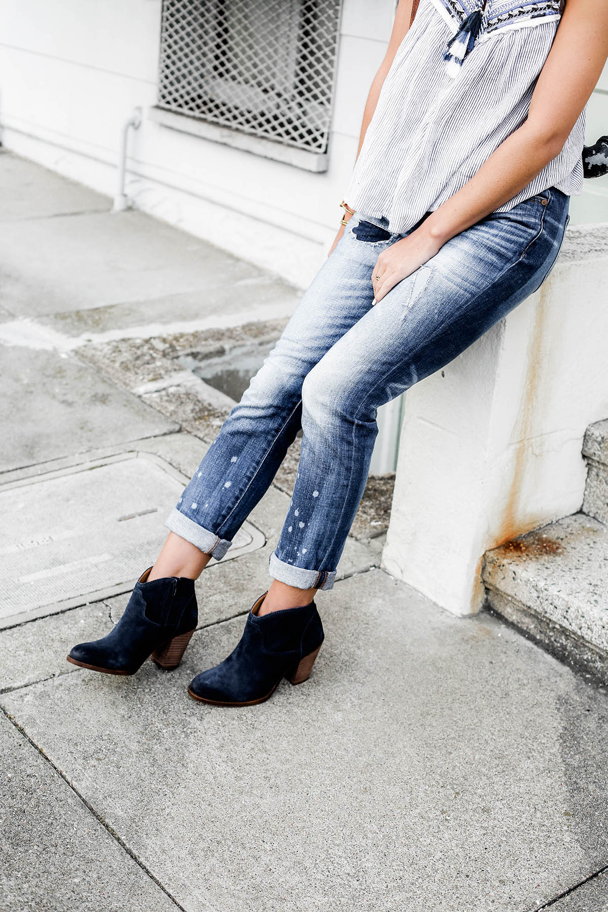 fall fashion trends patchwork denim boyfriend jeans and lucky brand blue suede ankle boots