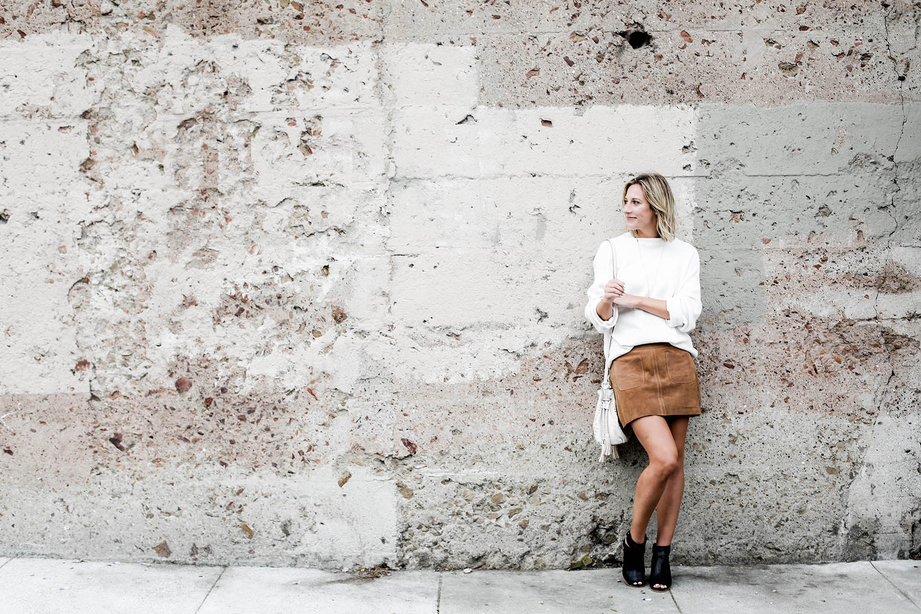 fall fashion trends free people suede miniskirt and oversized sweater