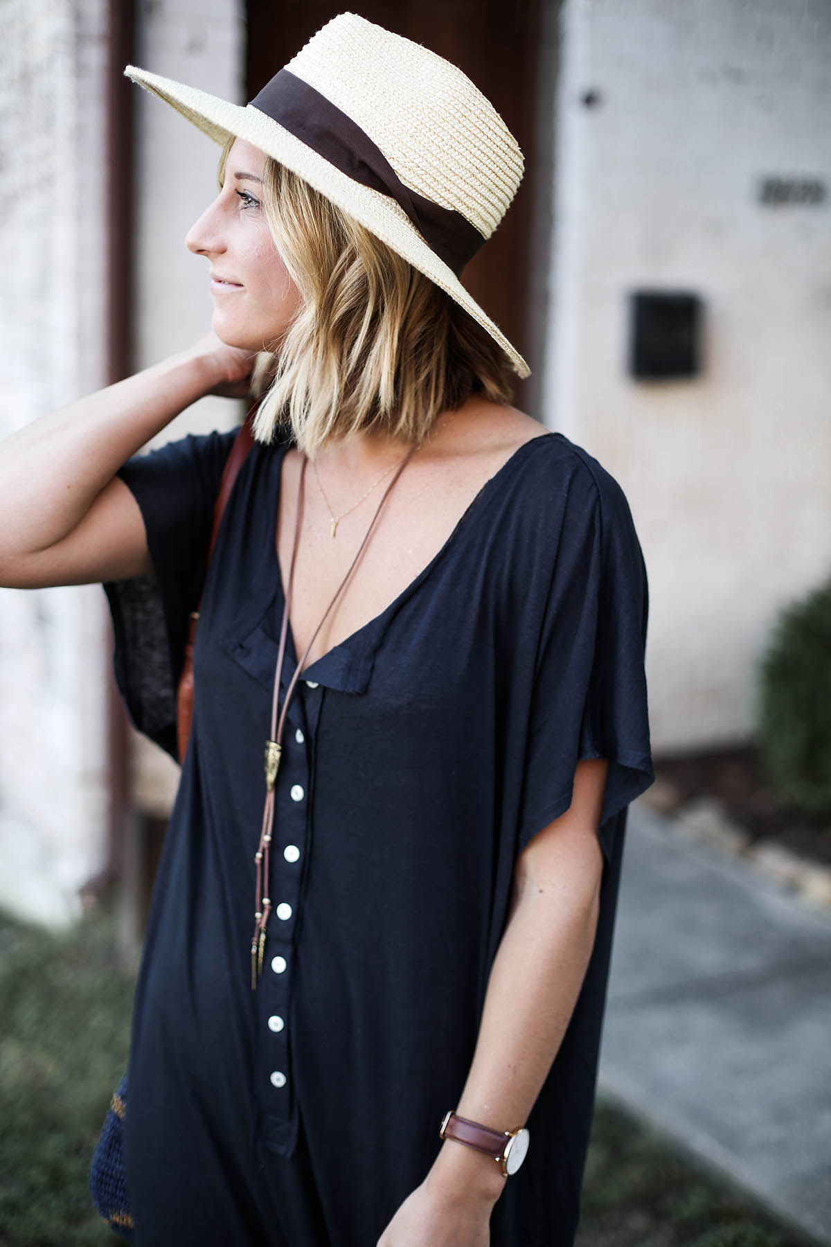 free people marrakesh oversized maxi dress outfit and brixton hat