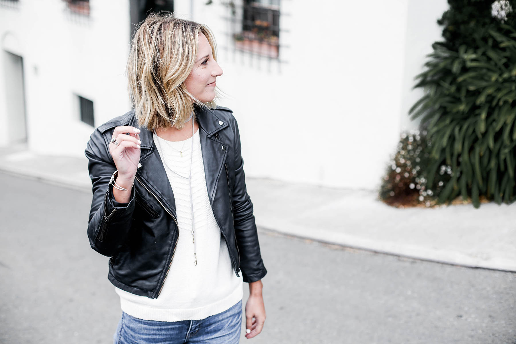 black leather moto jacket outfit
