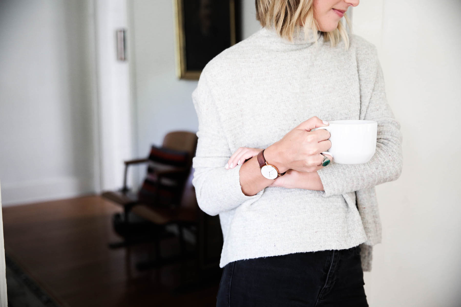 free people arctic fox sweater and daniel wellington watch