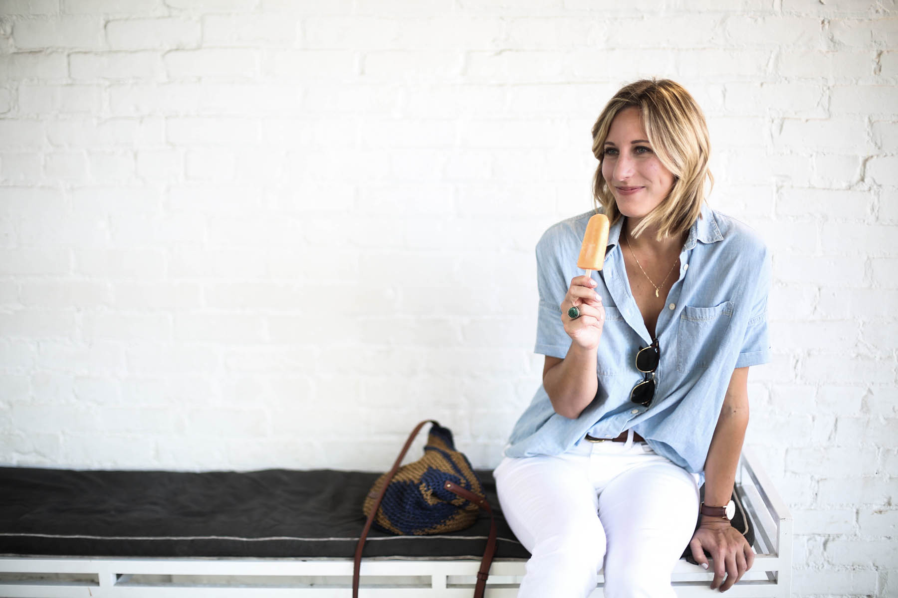 madewell chambray shirt outfit