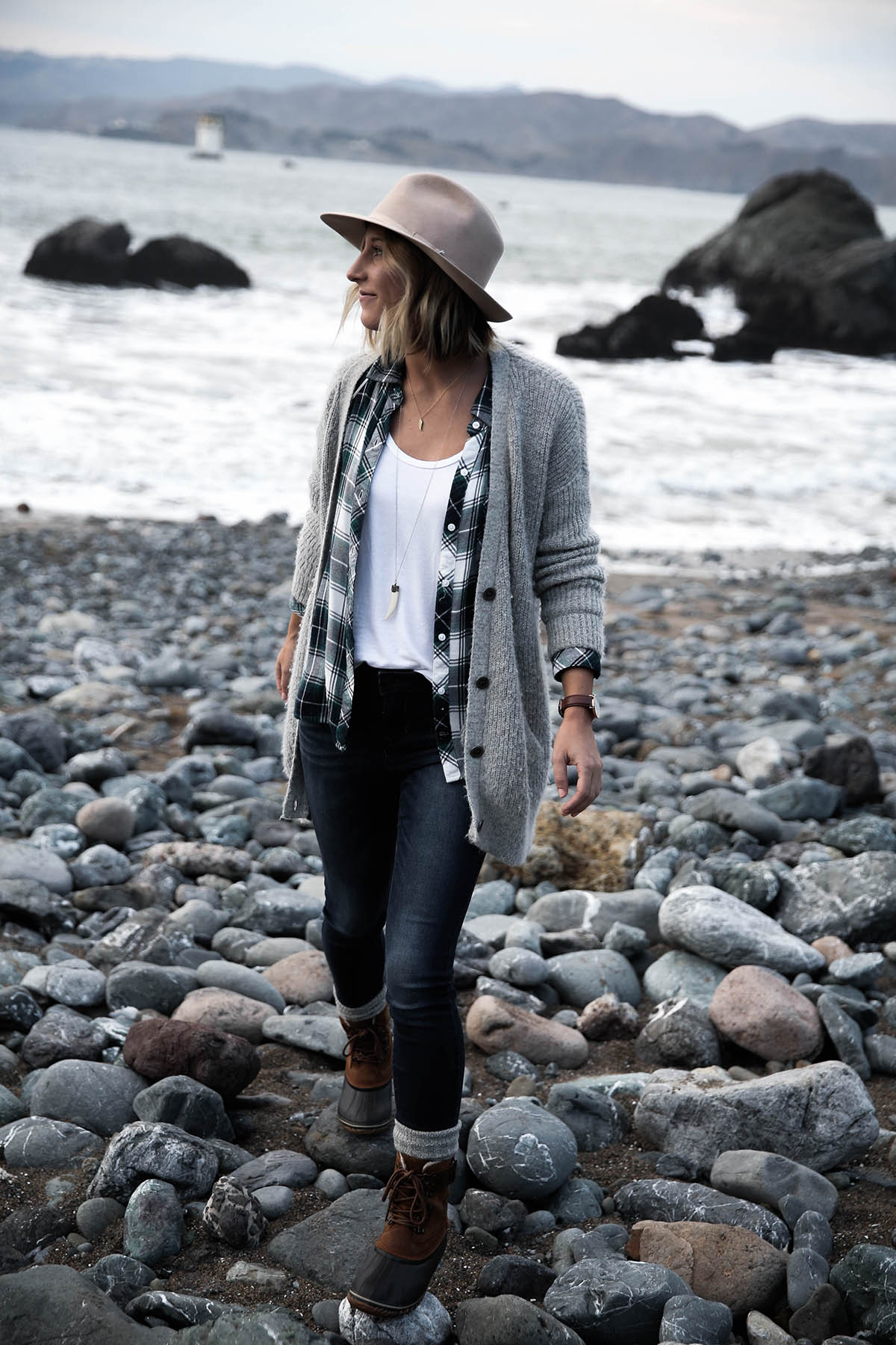 grey cardigan with plaid shirt, old navy jeans, and sorel boots with socks