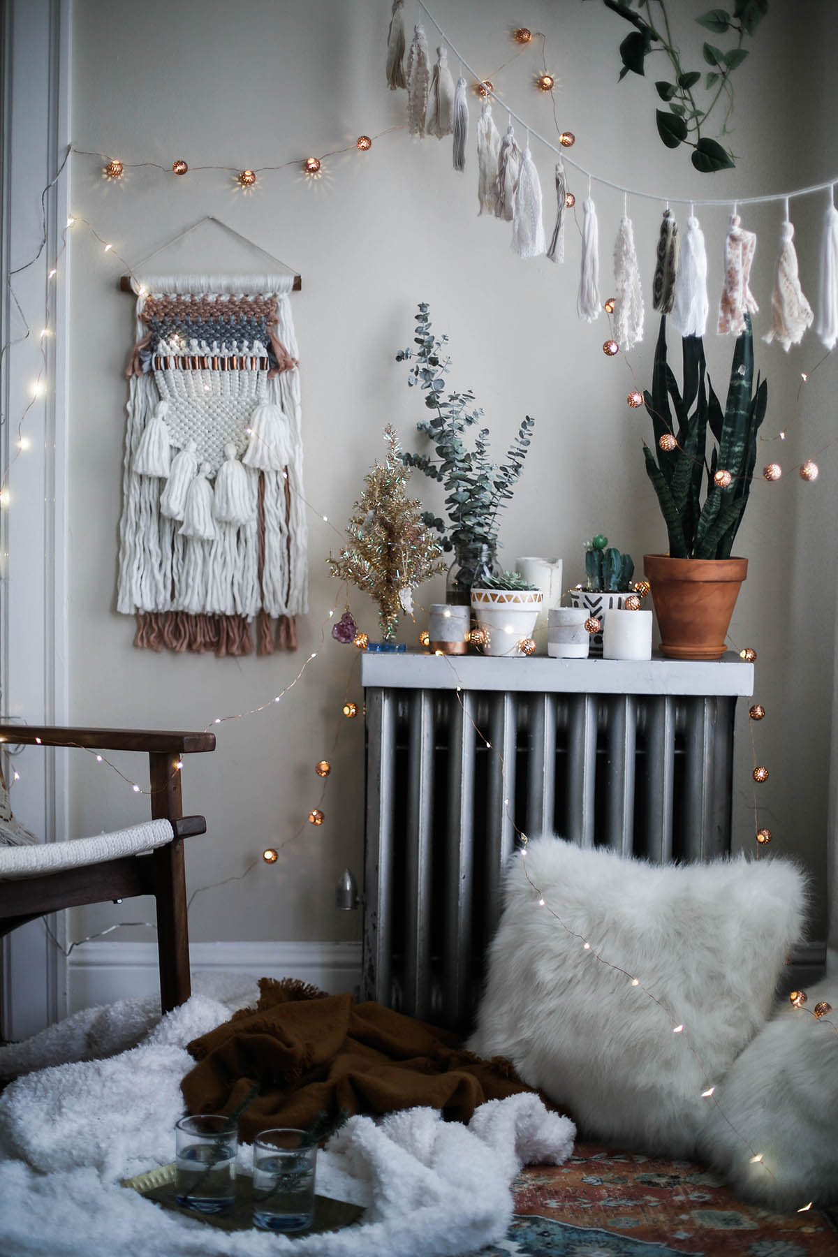 cozy bohemian holiday decorations with Urban Outfitters home
