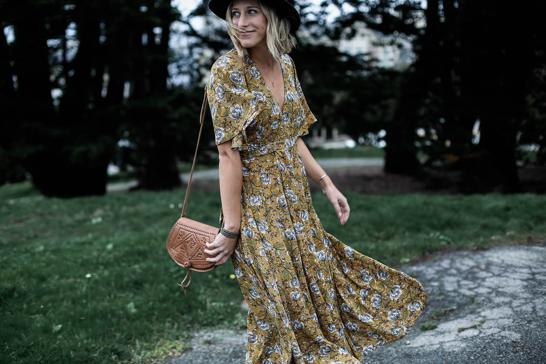 azalea fall floral maxi dress