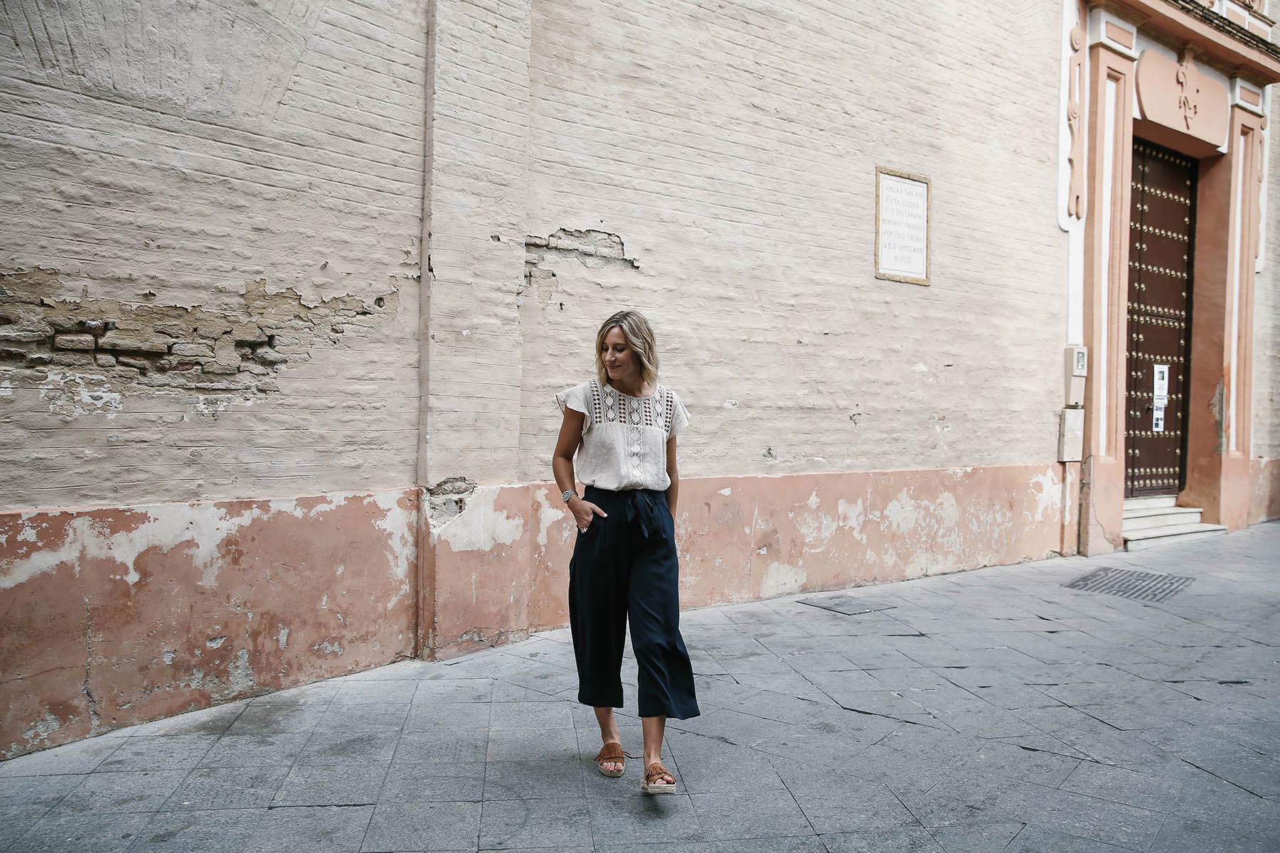 navy culottes outfit