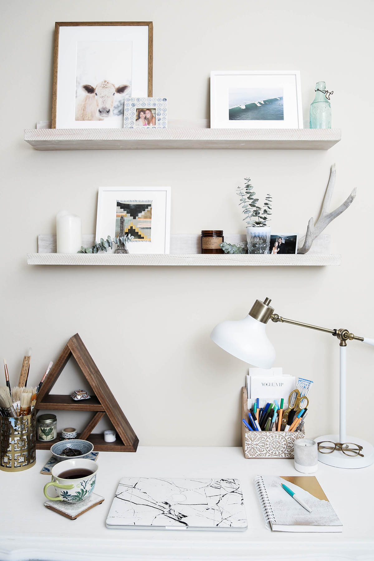 home office decor with Minted prints and shelves