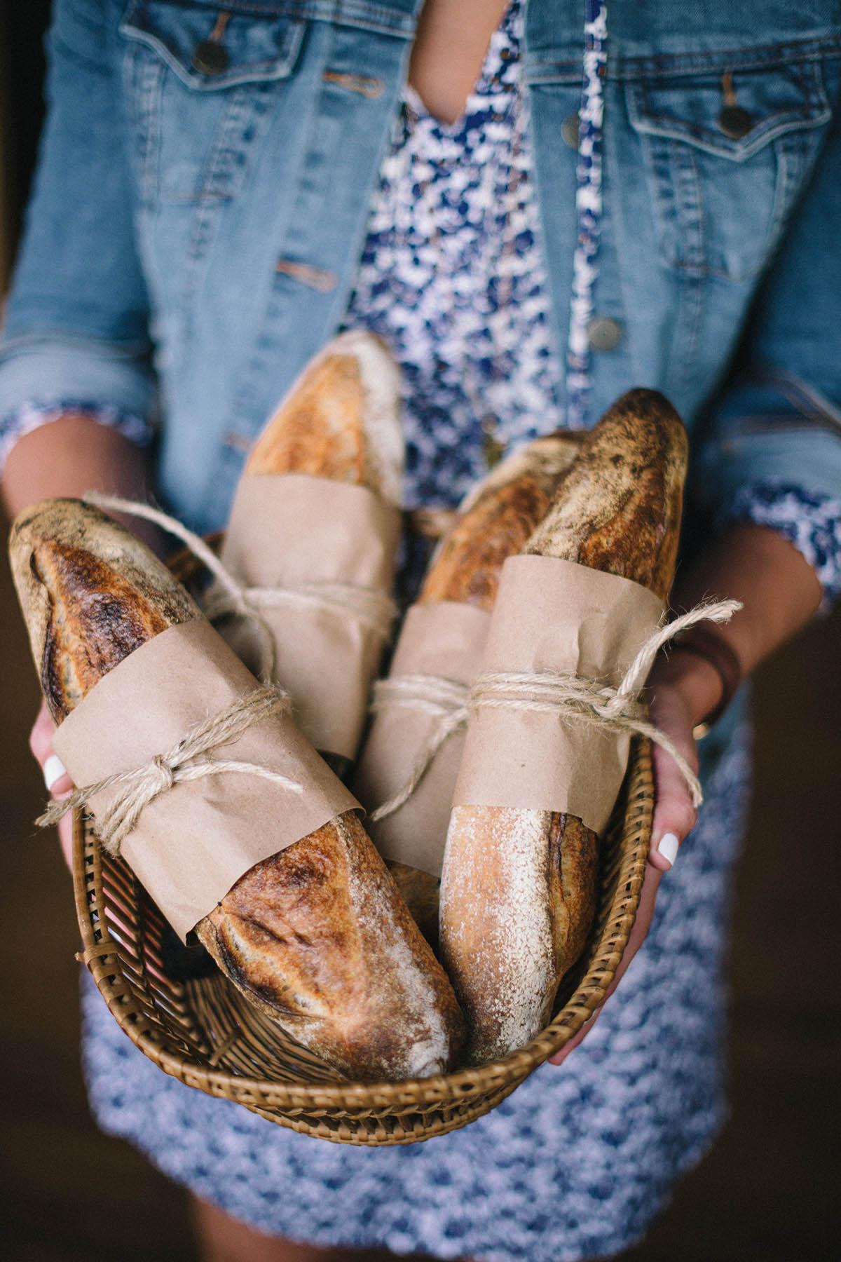 basket of rustic loaves of bread