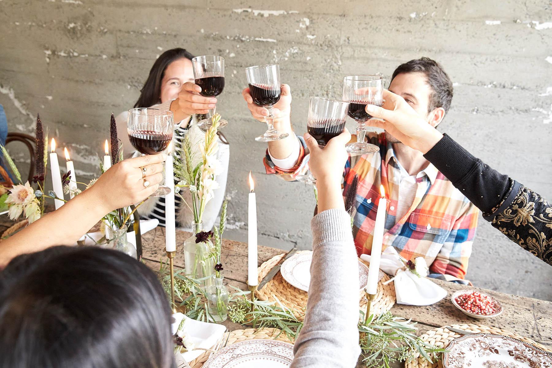 friendsgiving wine cheers
