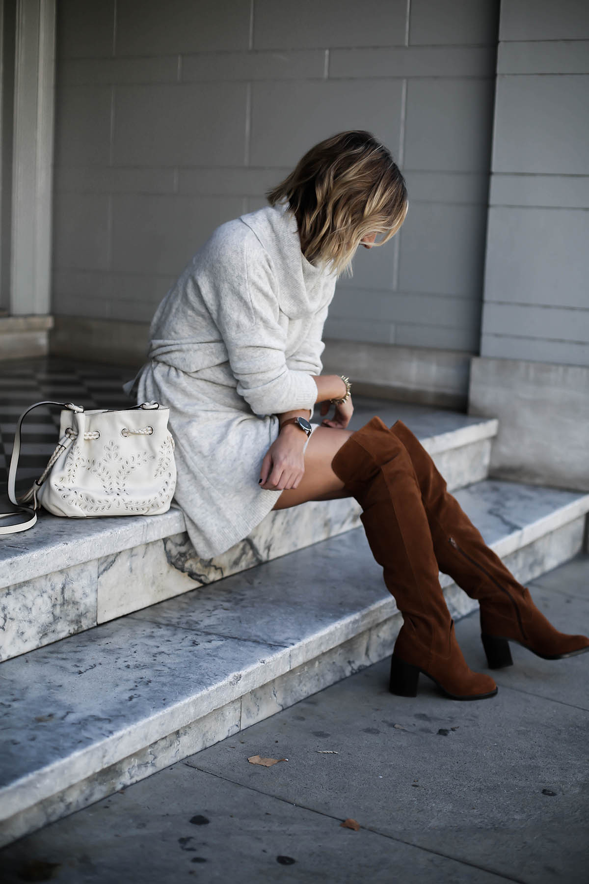 gray sweater dress and over the knee boots thanksgiving outfit
