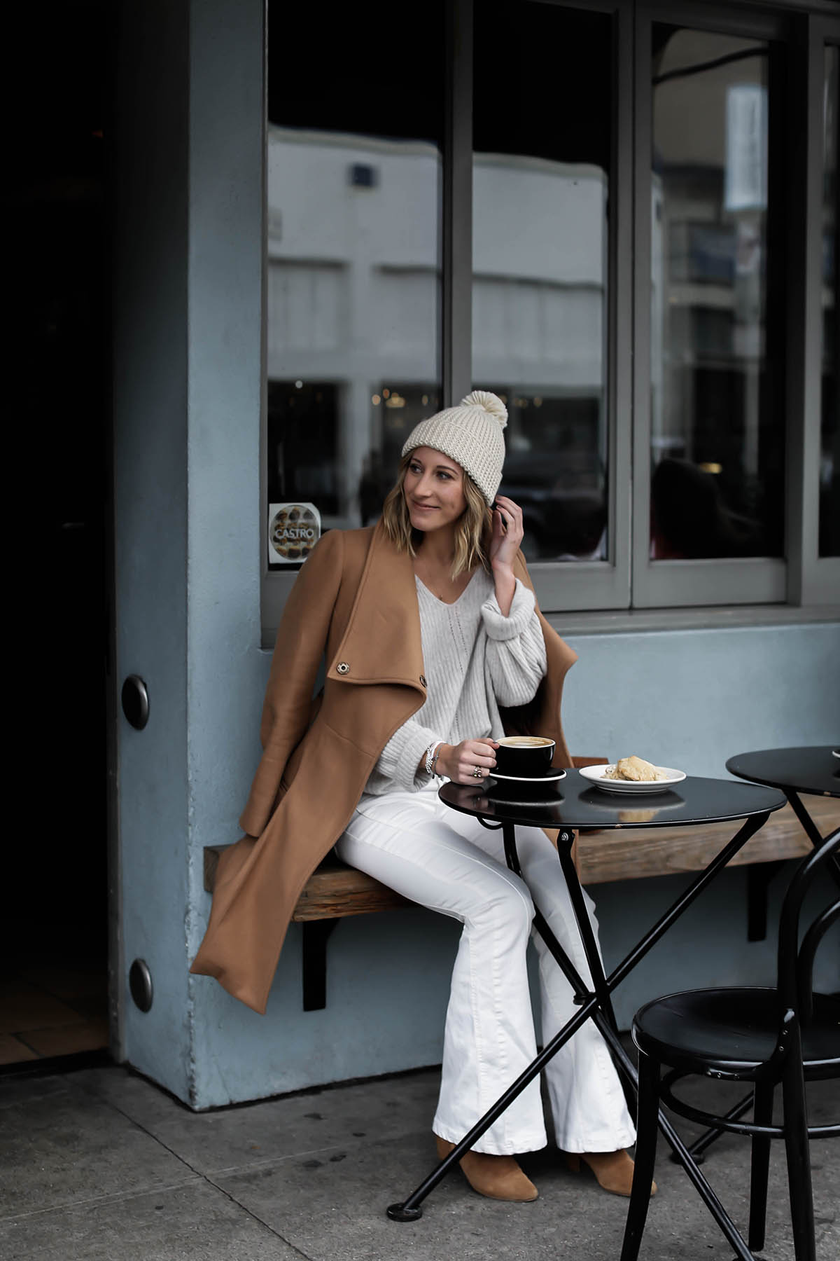 white flare jeans and camel coat winter outfit