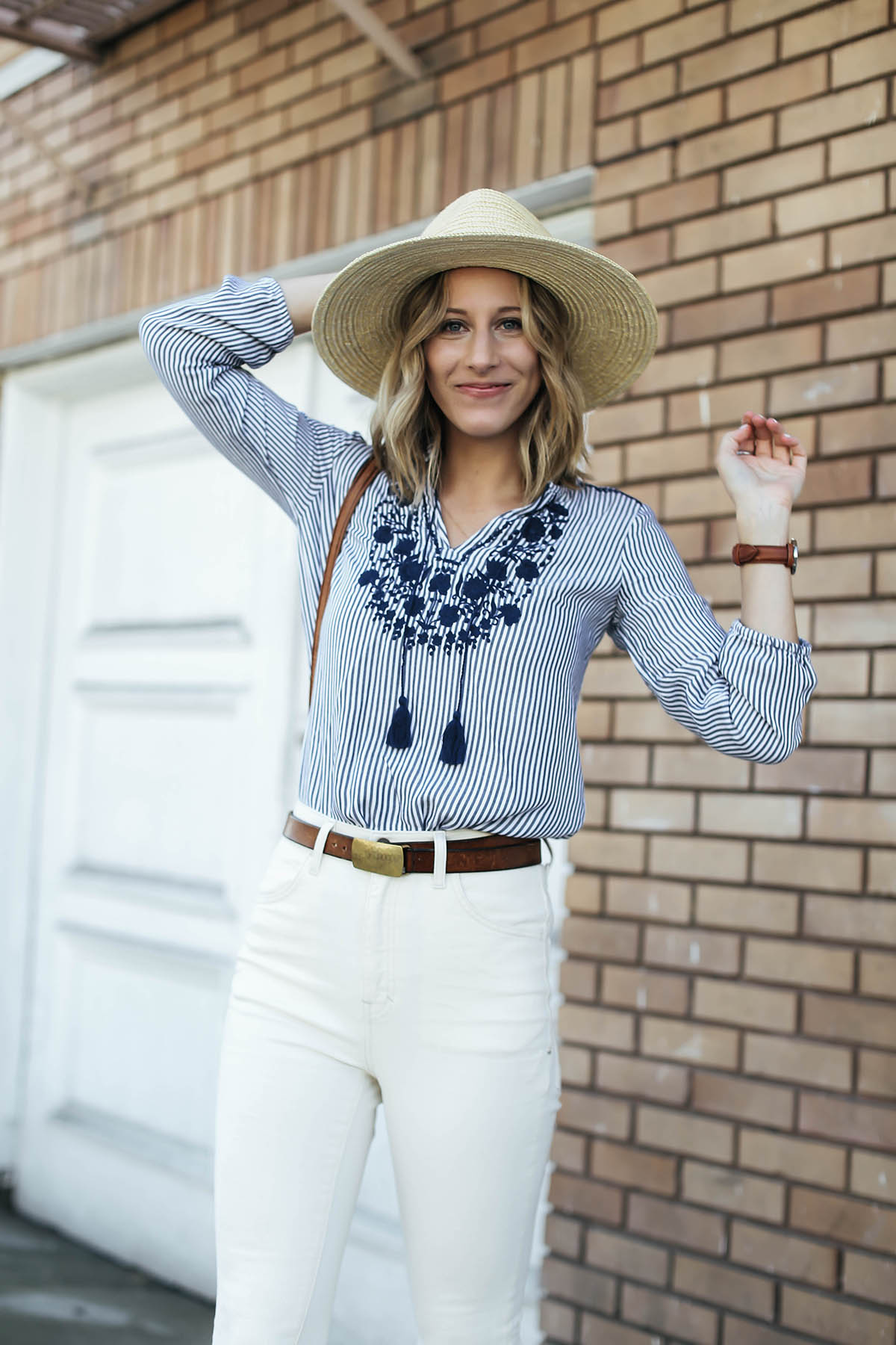 old navy embroidered nautical trend shirt with white high rise jeans and brixton hat