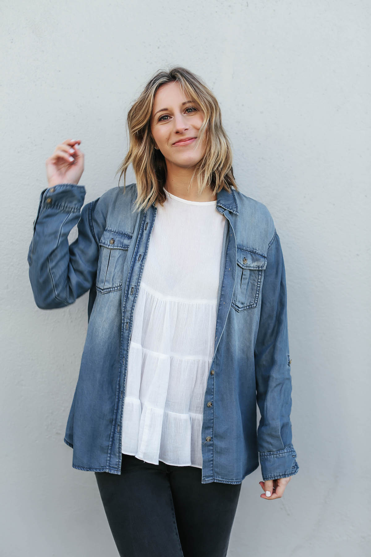 chambray shirt over white blouse on long bob