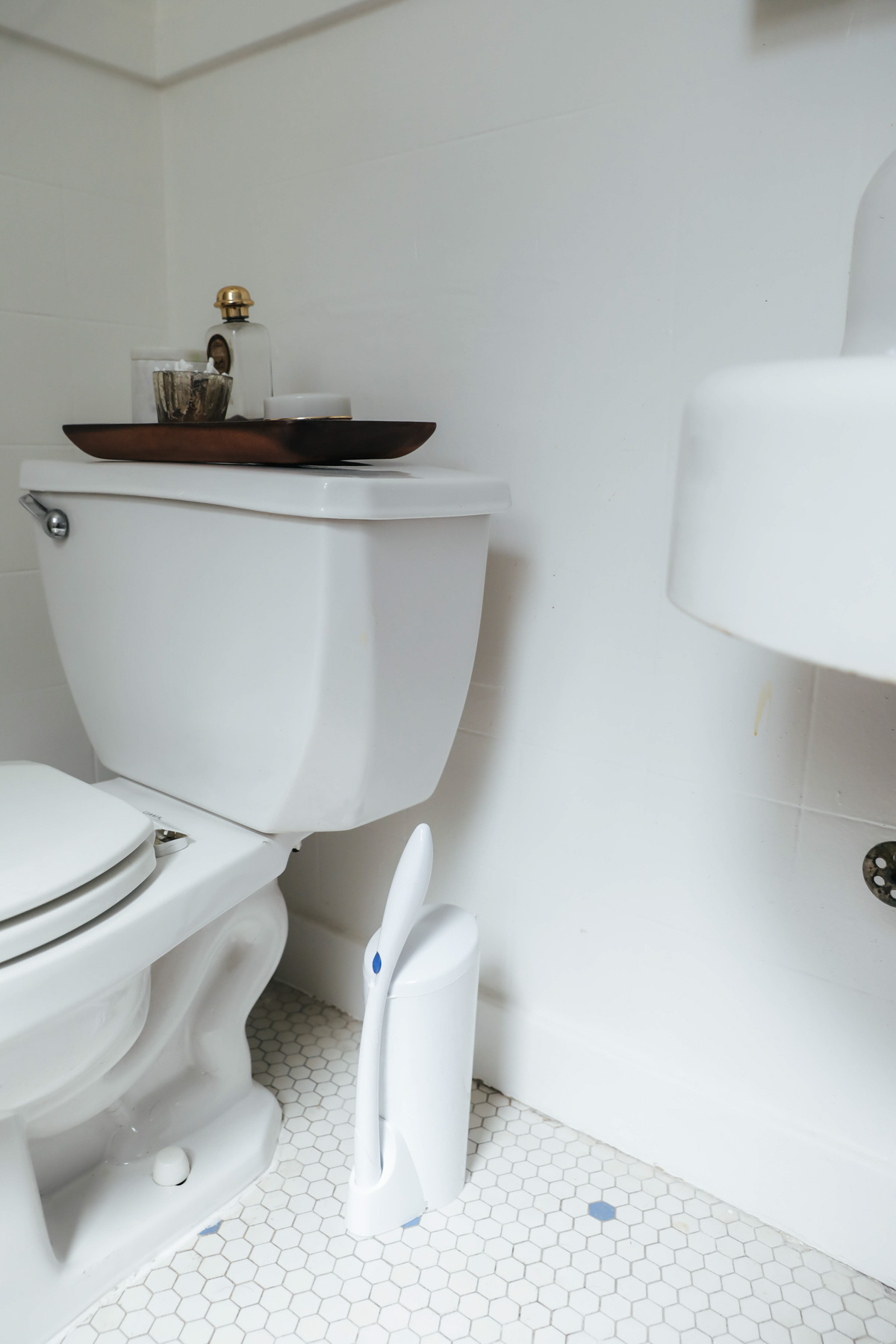 Easy clean bathroom -  Scrub Down The Toilet And Drop The Head In The Trash All Without Touching Anything With Your Hands Plus It S Nice And Sleek So It S Perfect For Small