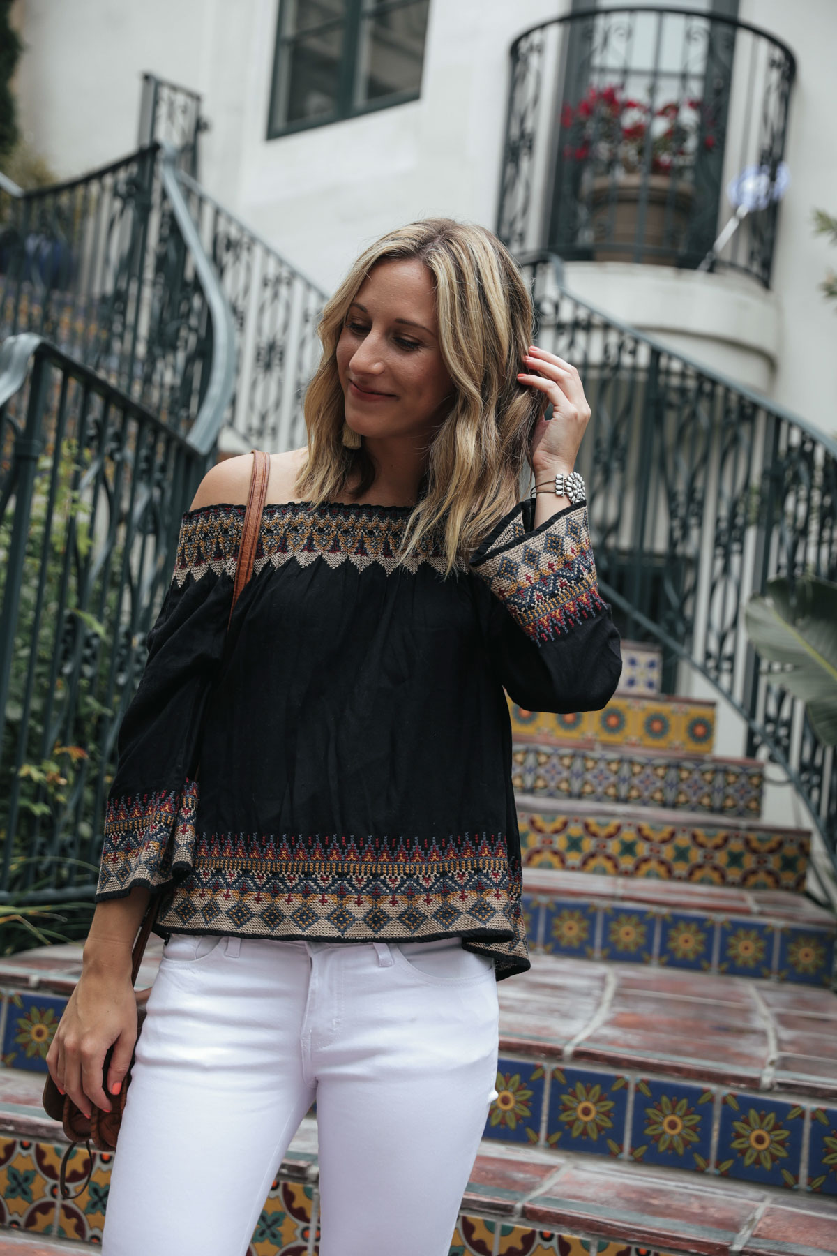 thredUP outfit with joie off the shoulder top