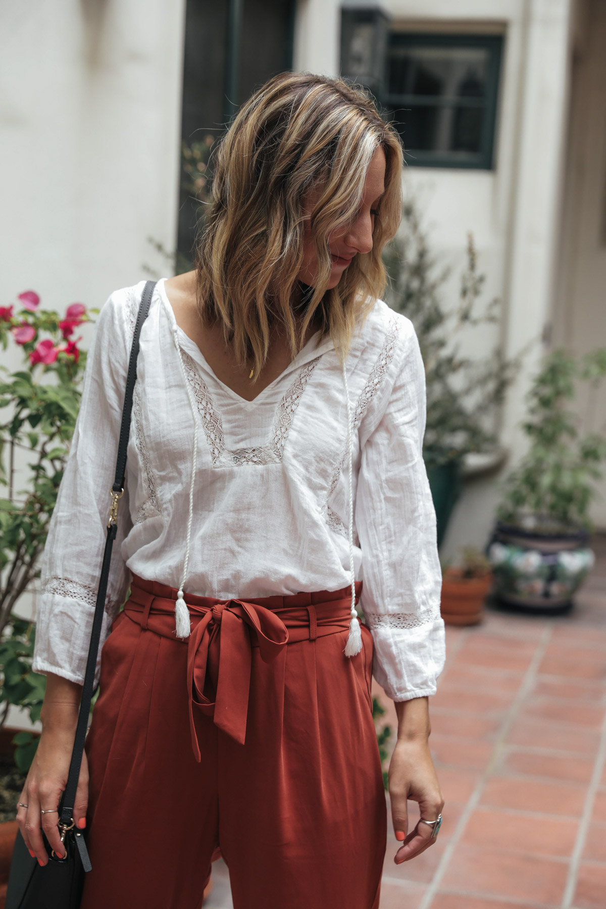 thredUP outfit with joie white boho top