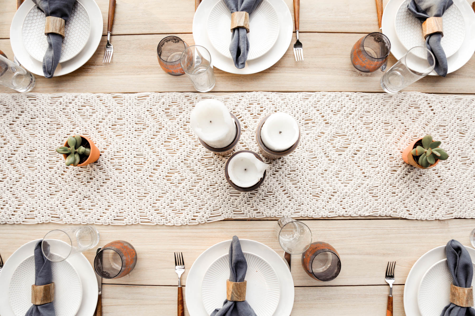 bohemian tablescape with macrame runner
