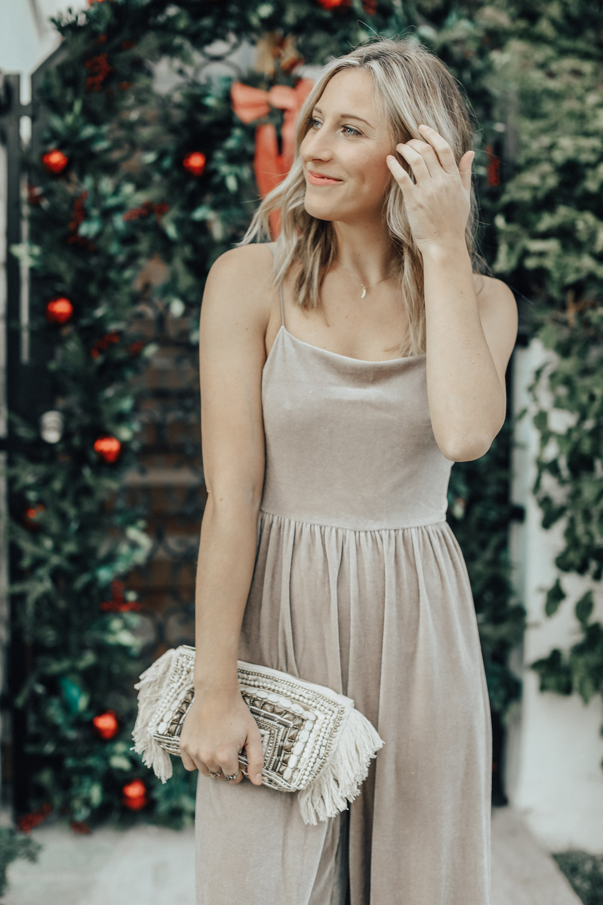 urban outfitters velvet jumpsuit holiday outfit