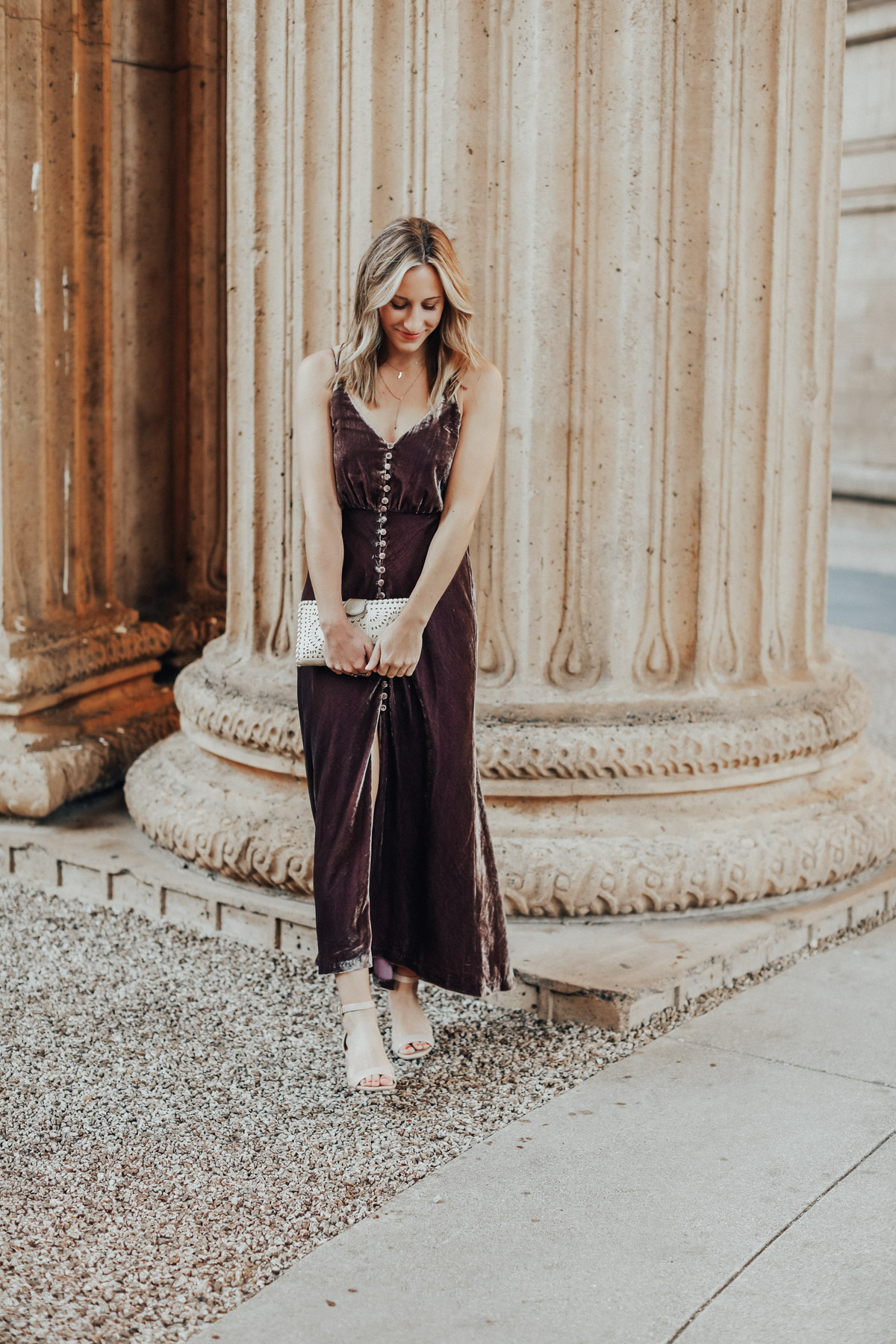 urban outfitters velvet maxi dress holiday outfit