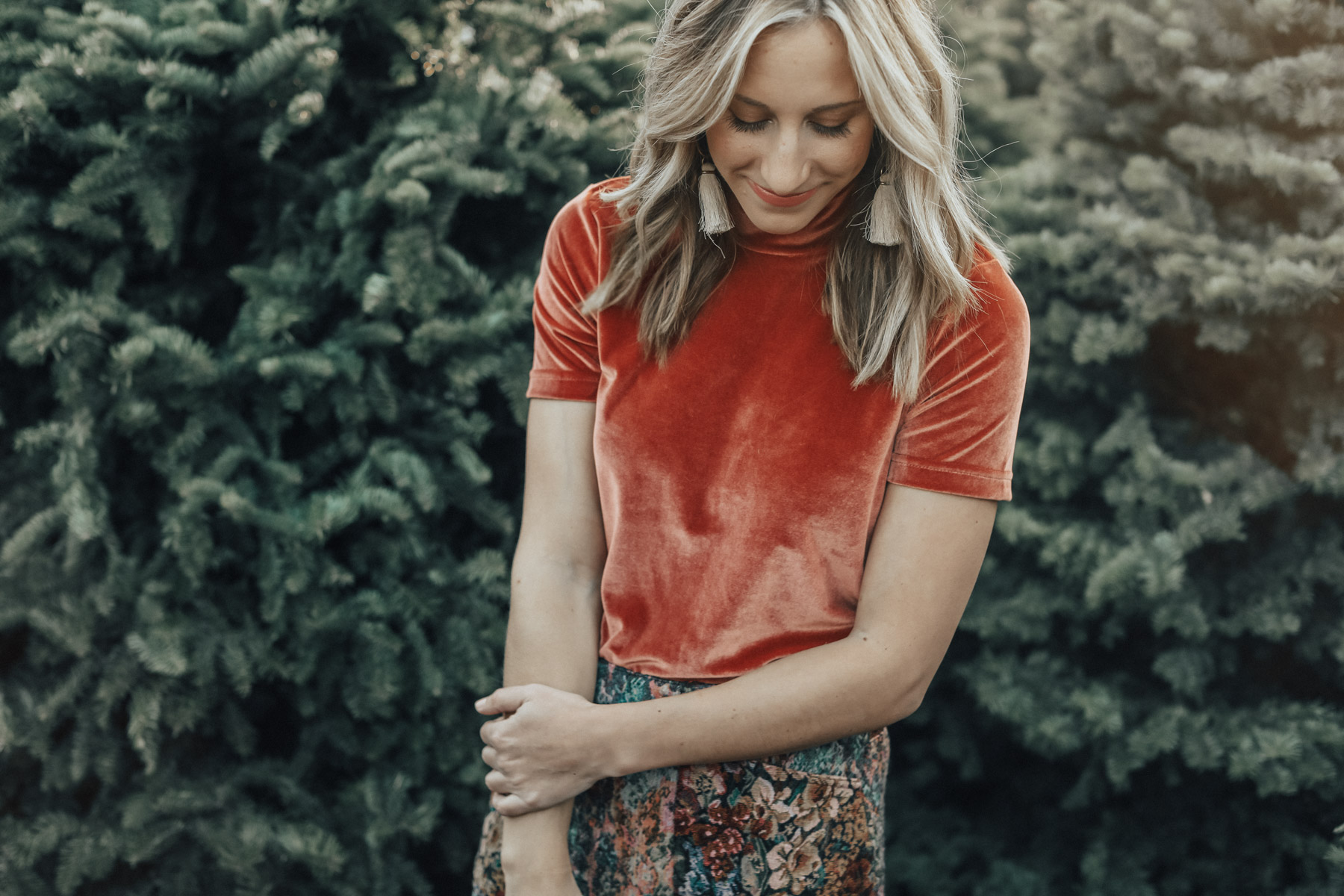 madewell velvet top and urban outfitters jacquard mini skirt holiday outfit