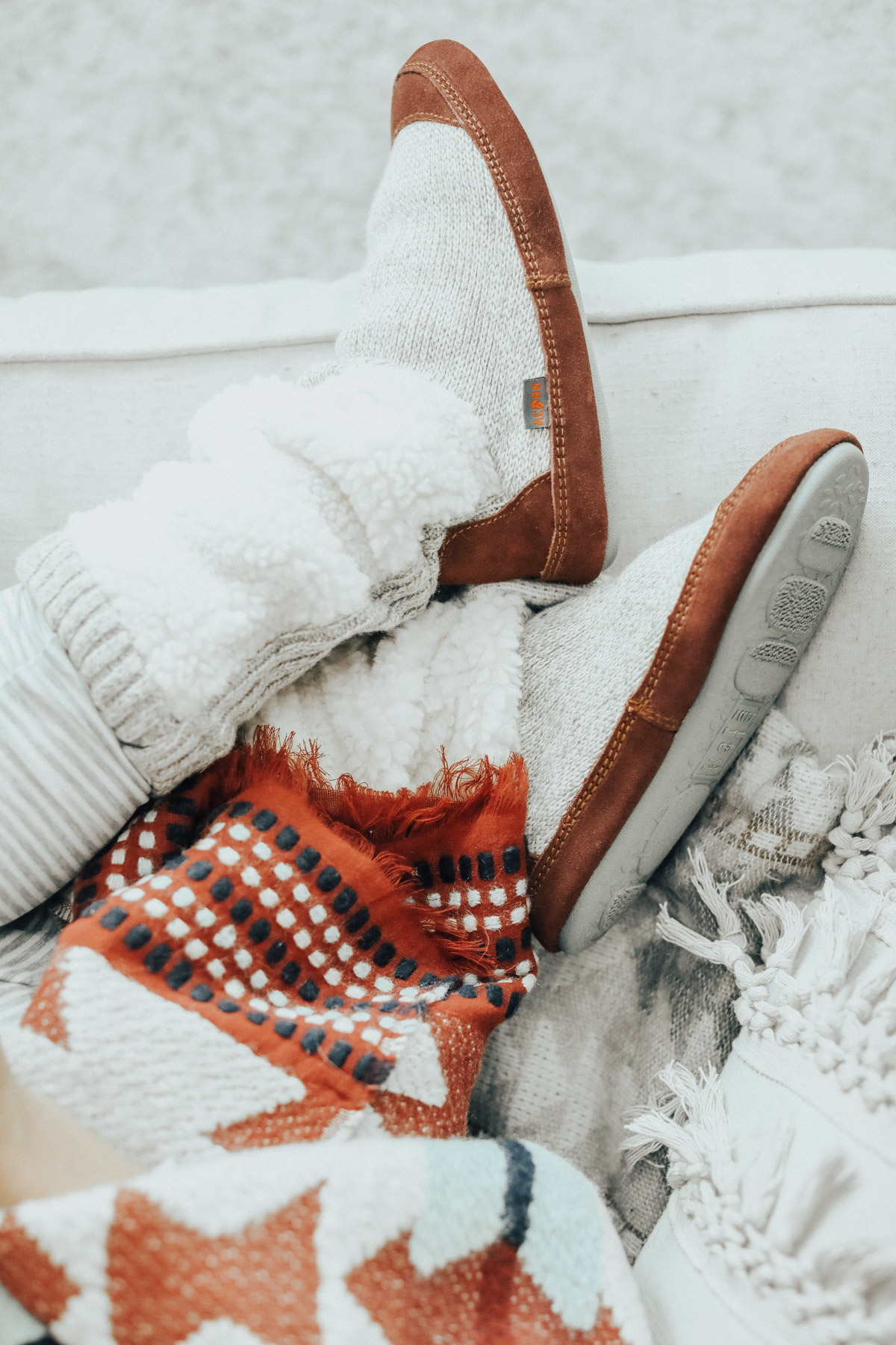 cozy winter outfit acorn slippers