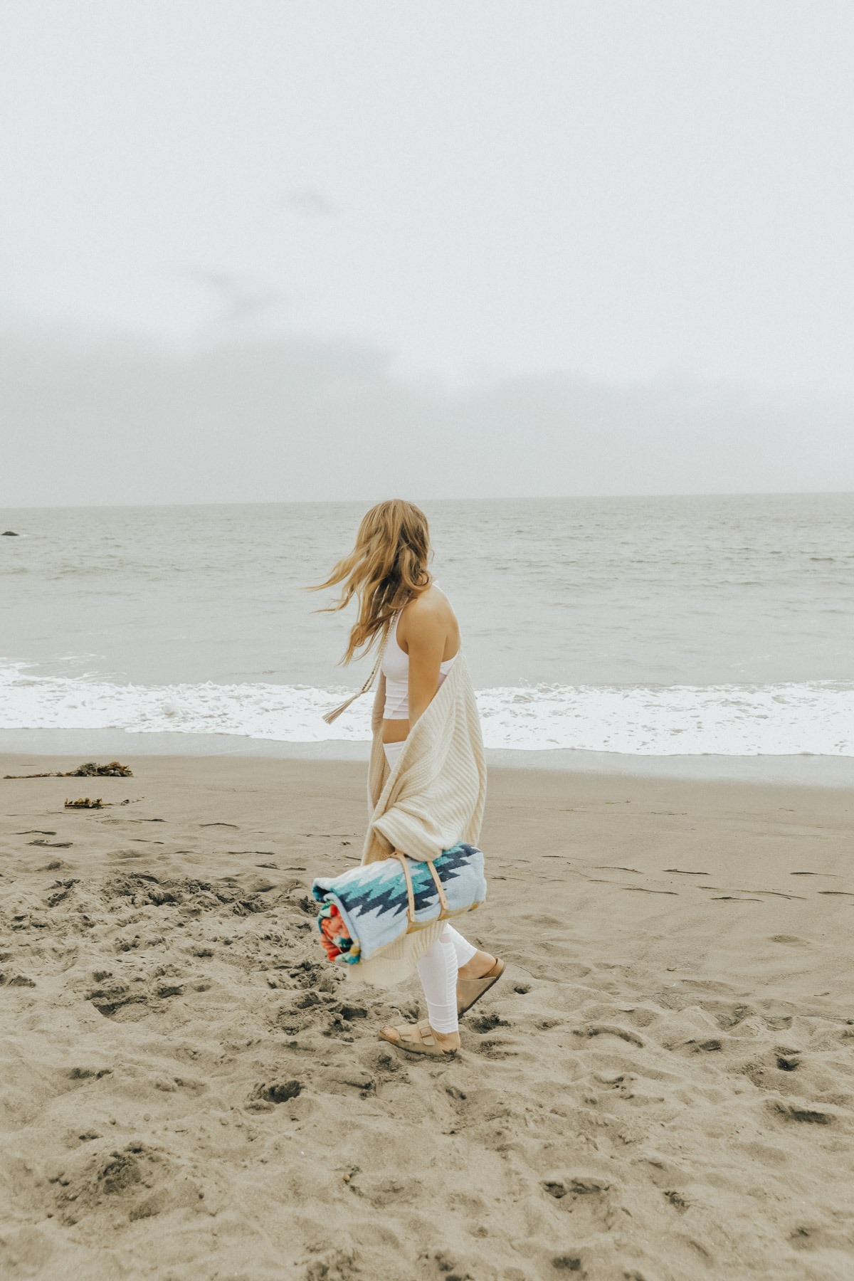 california beach girl mexican blanket