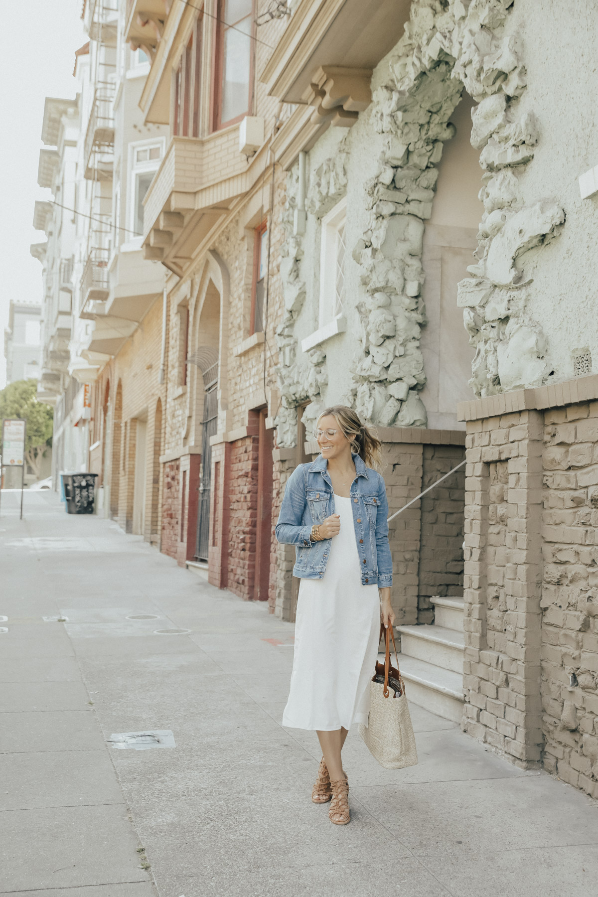 silk midi dress and denim jacket summer outfit