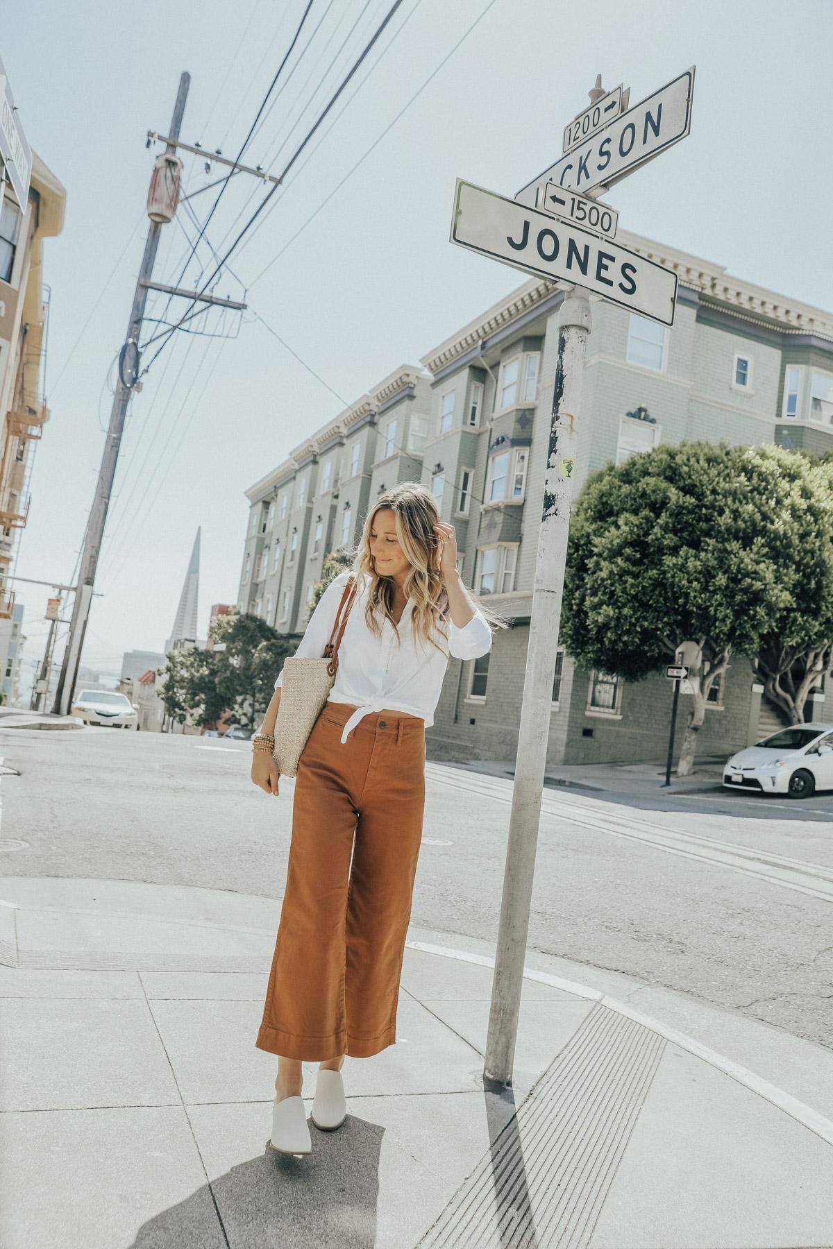 madewell outfit wide leg crop jeans in san francisco