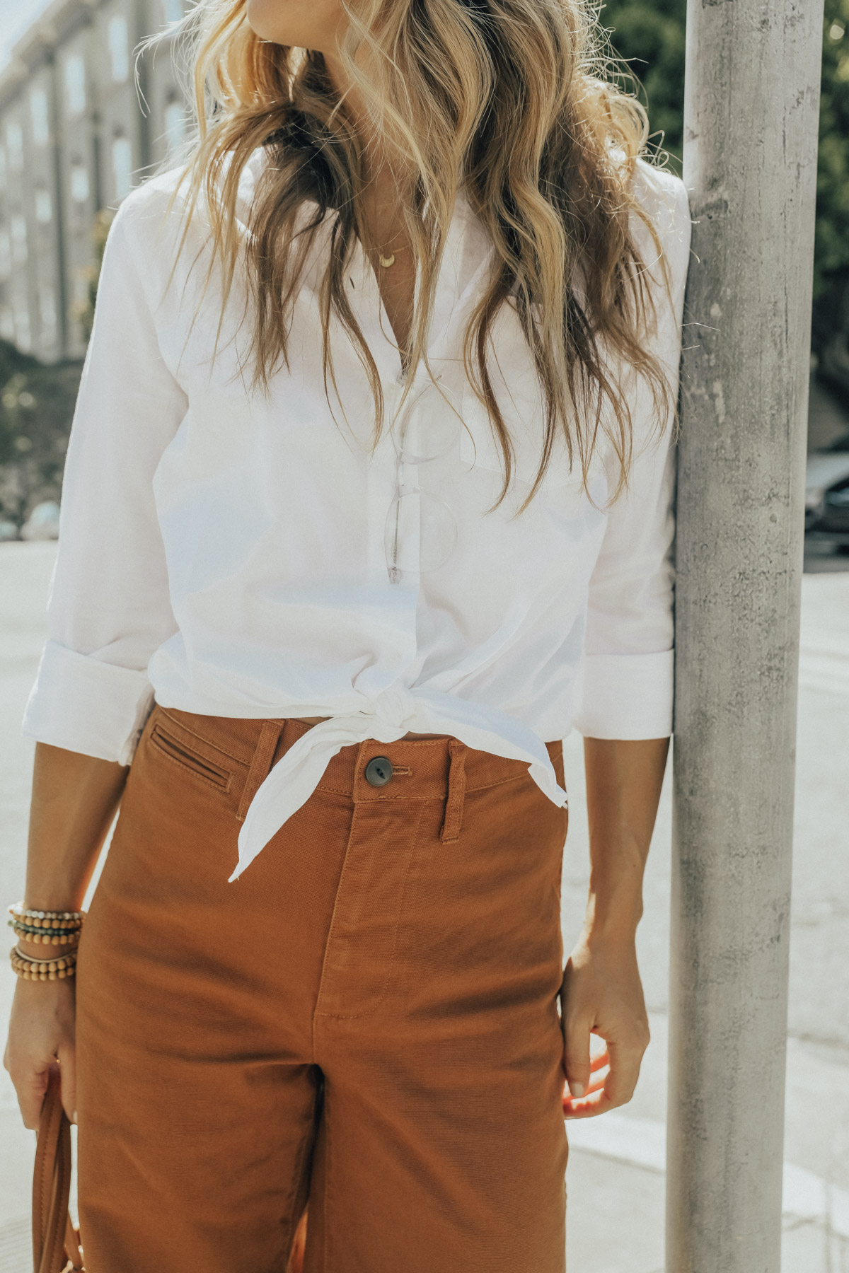 madewell outfit wide leg crop jeans and tie front top