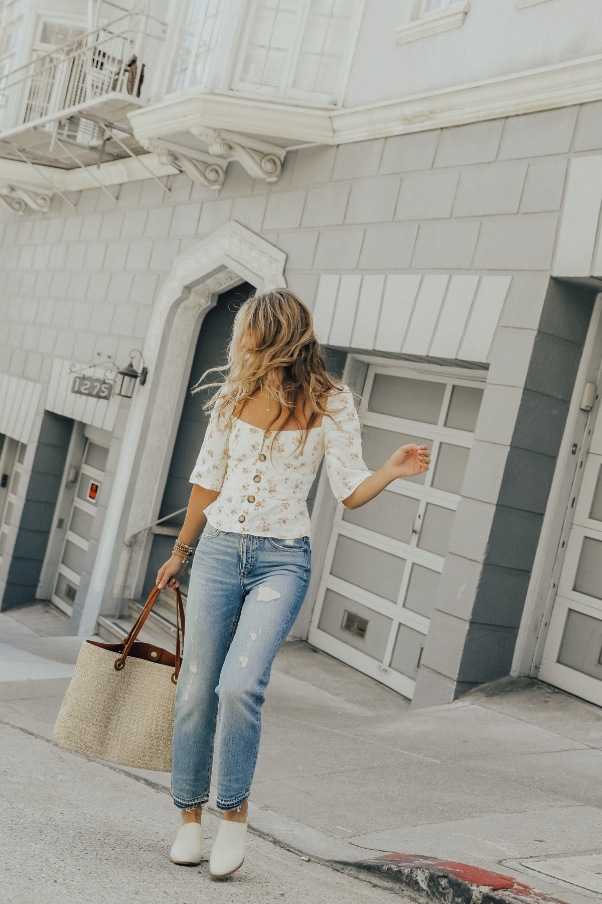 madewell vintage jeans and mules with reformation floral top