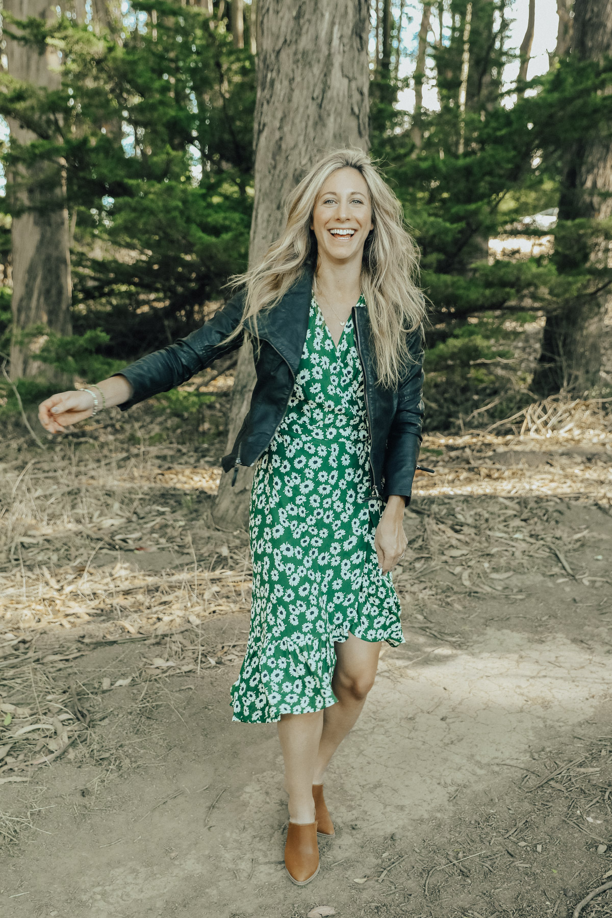 trunk club floral wrap dress fall outfit4